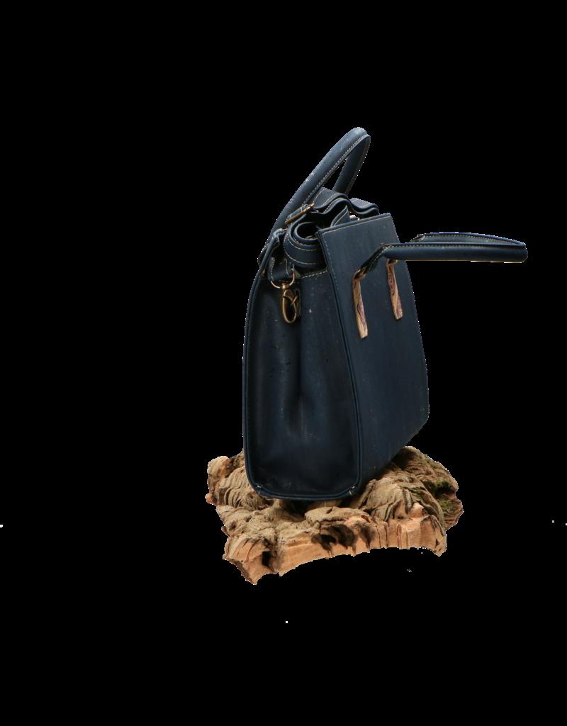 Captain Cork NELE - Cork hand bag in dark blue and Azulejo pattern