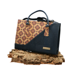 Captain Cork NELE - Cork hand bag in dark blue and Azulejo pattern / Captain Cork Label