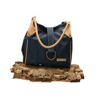 Captain Cork LAURA _ NAVY BLUE NATURAL DETAIL hand bag out of CORK