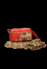 Captain Cork ANNA - Compacte schoudertas in rode kurk met grote bloemen en een rits/Captain Cork Label