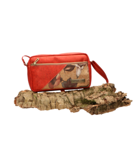 Captain Cork ANNA- Compact shoulderbag in red cork with big flowers/Captain Cork Label