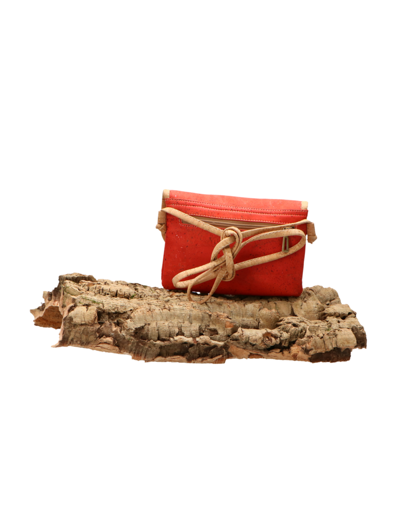 Captain Cork MEREL- The corky shoulder bag in deep red with natural cork details/Captain Cork Label