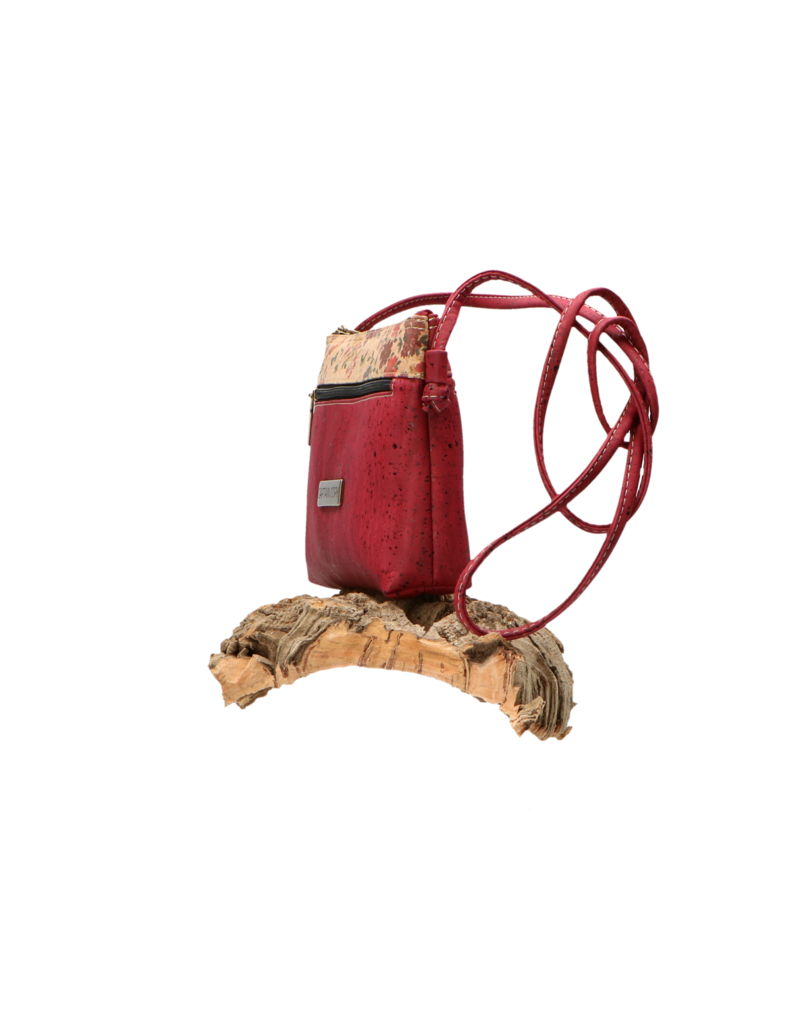 Captain Cork SHANNA - The corky shoulder bag in deep red with small flowerprint and zipper/Captain Cork Label