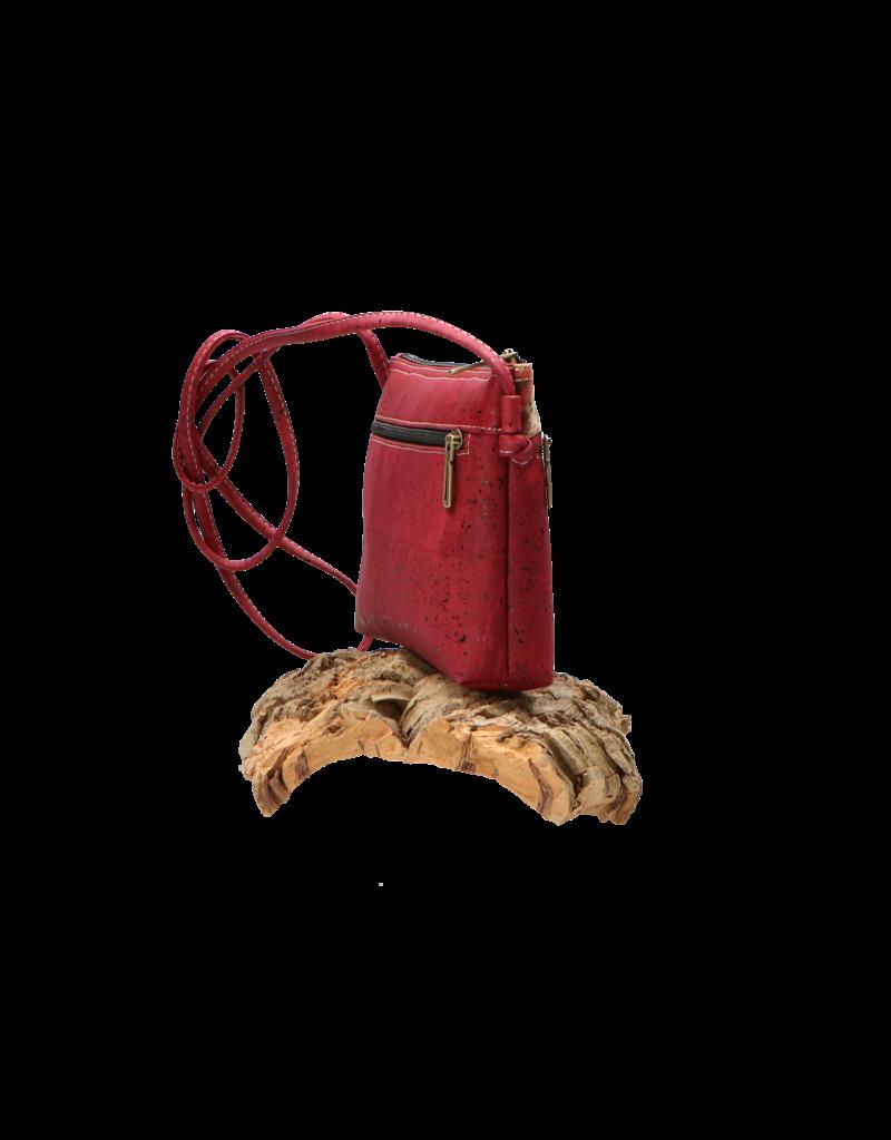 Captain Cork SHANNA - kurken Schoudertasje in diep rood / Captain cork label