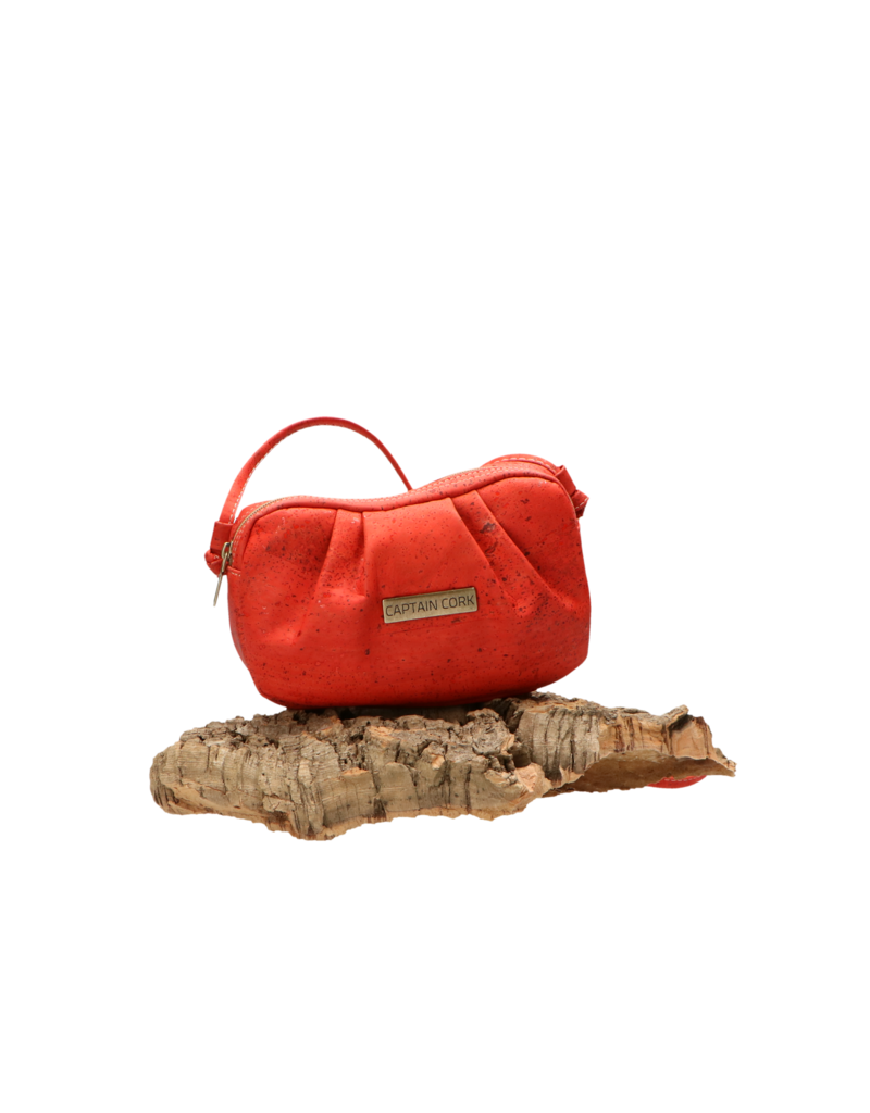 Captain Cork EVA- The Corky Shoulder bag in romantic red with ruffled detail
