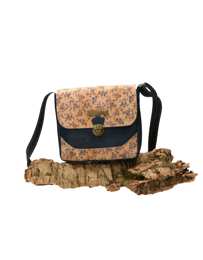 Captain Cork QUINTY - Sweet rebel shoulder vag in blue and natural cork with romantic floral print