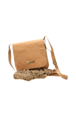 Captain Cork TESSA - Cool vegan shoulder bag with flap in natural cork/Captain Cork Label