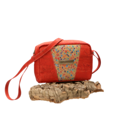 Captain Cork ALEXIA - Beautiful red shoulder bag with frivolous flowerprint/Captain Cork Label