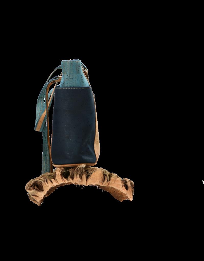 Captain Cork KATRIJN - Urban cork shoulder bag in a gorgeous Denim Blue and Turquoise duo