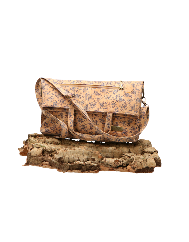 Captain Cork CRISTINA- Beautiful fold-over bag in cork with wonderful print