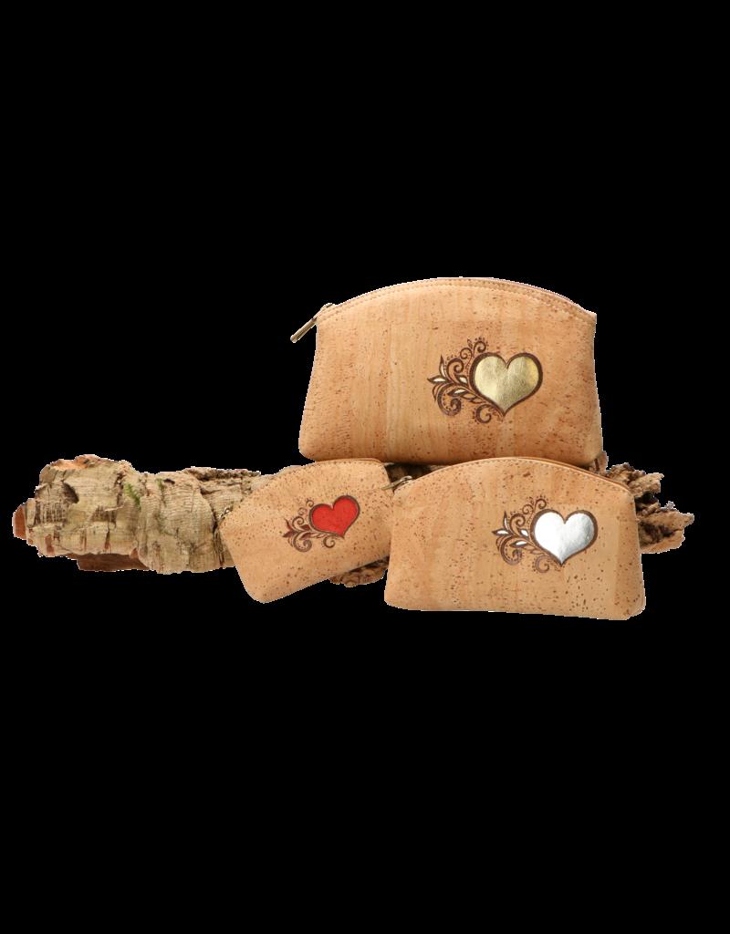 Captain Cork HEART - Hartig make up tasje met zilveren hart / Captain Cork Label