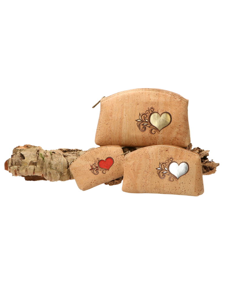 Captain Cork HEART - Hearty make up bag with silver heart / Captain Cork Label