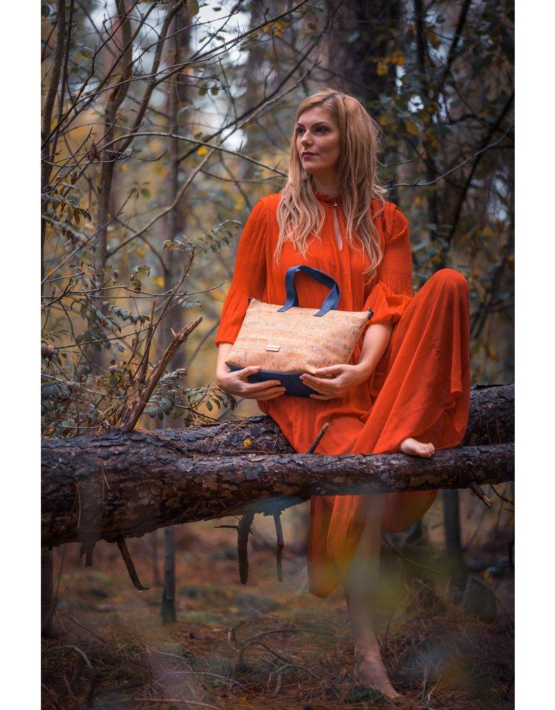 Captain Cork PAULINE - Prachtige ecologische, stijlvolle dames handtas  in blauw met gouden detail.