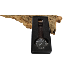 Captain Cork watch dark brown wood inside, dark cork and dark brown wrist bands