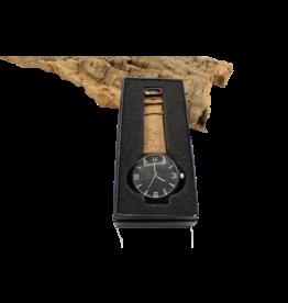 Captain Cork Horloge donkerbruin hout binnenwerk donkere  kurk en naturel kurken polsbanden