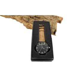 Captain Cork Watch dark brown  wood and dark cork inside with natural cork straps