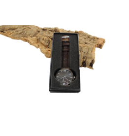 Captain Cork Watch wood dark brown cork leather straps