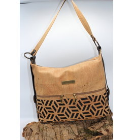 Captain Cork ESTELLE - Elegant cork bag with black relief