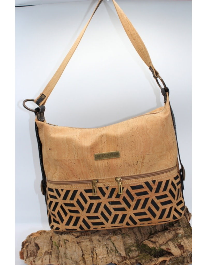 Captain Cork ESTELLE - Elegant cork bag with black relief