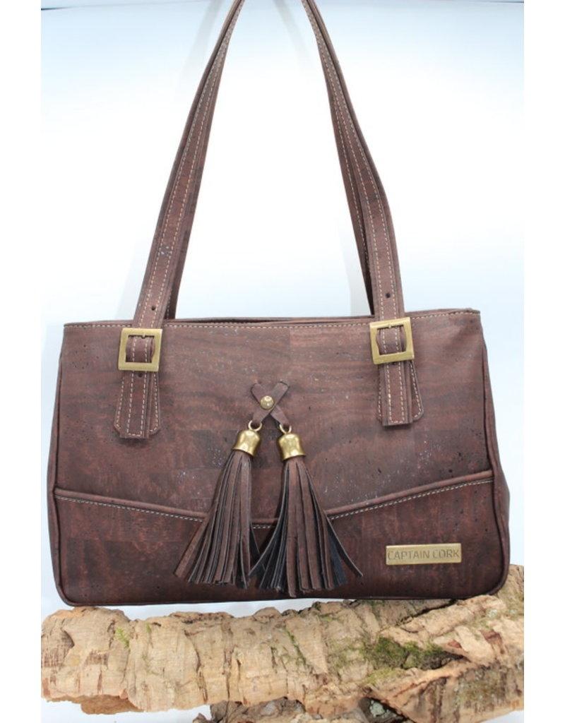Captain Cork EDRIENNE - Beautiful cork  shoulder bag with tassles in brown