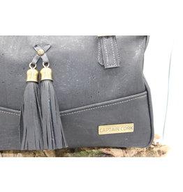 Captain Cork EDRIENNE - Beautiful cork shoulder bag with tassles in black