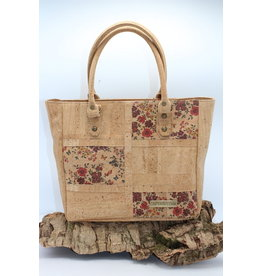 Captain Cork ELEONORA - Prachtige kurken Tote Bag met bloemenpatroon