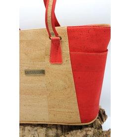 Captain Cork KATRIJN- De kurken urban en Stijlvolle Handtas in liefdevol rood/ Captain Cork Label