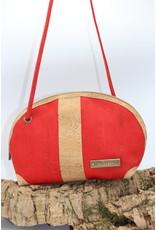 Captain Cork Caithlynn - Crescent moon bag in red cork