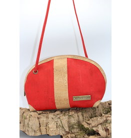 Captain Cork Caithlynn - Crescent moon bag in red cork