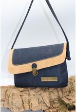Captain Cork VEERLE - The corky blue shoulder bag with small shoulder strap