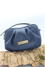 Captain Cork EVA- The corky shoulder bag in navy blue with ruffled detail