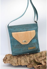 Captain Cork Philippa - Shoulder bag with an attitude in turquoise cork leather