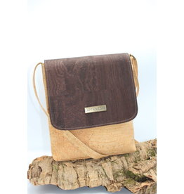 Captain Cork BRITT - Nice natural shoulder bag with flap dark brown