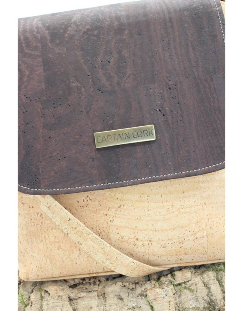 Captain Cork BRITT - Nice natural shoulder bag with flap dark brown