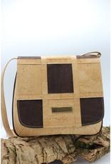 Captain Cork BECCA - Cork shoulder bag chess board dark brown / natural