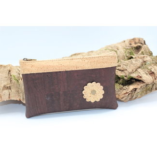 Captain Cork MAYA - het KURKEN mooie tasje met bloem in bruin