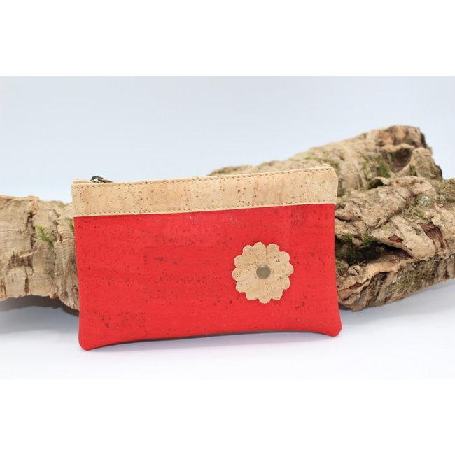 Captain Cork MAYA - KURKEN  tasje met bloem in rood