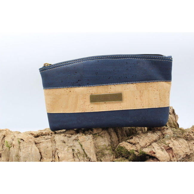 Captain Cork ATHENA - Make-up bag out of cork in vibrant navy blue
