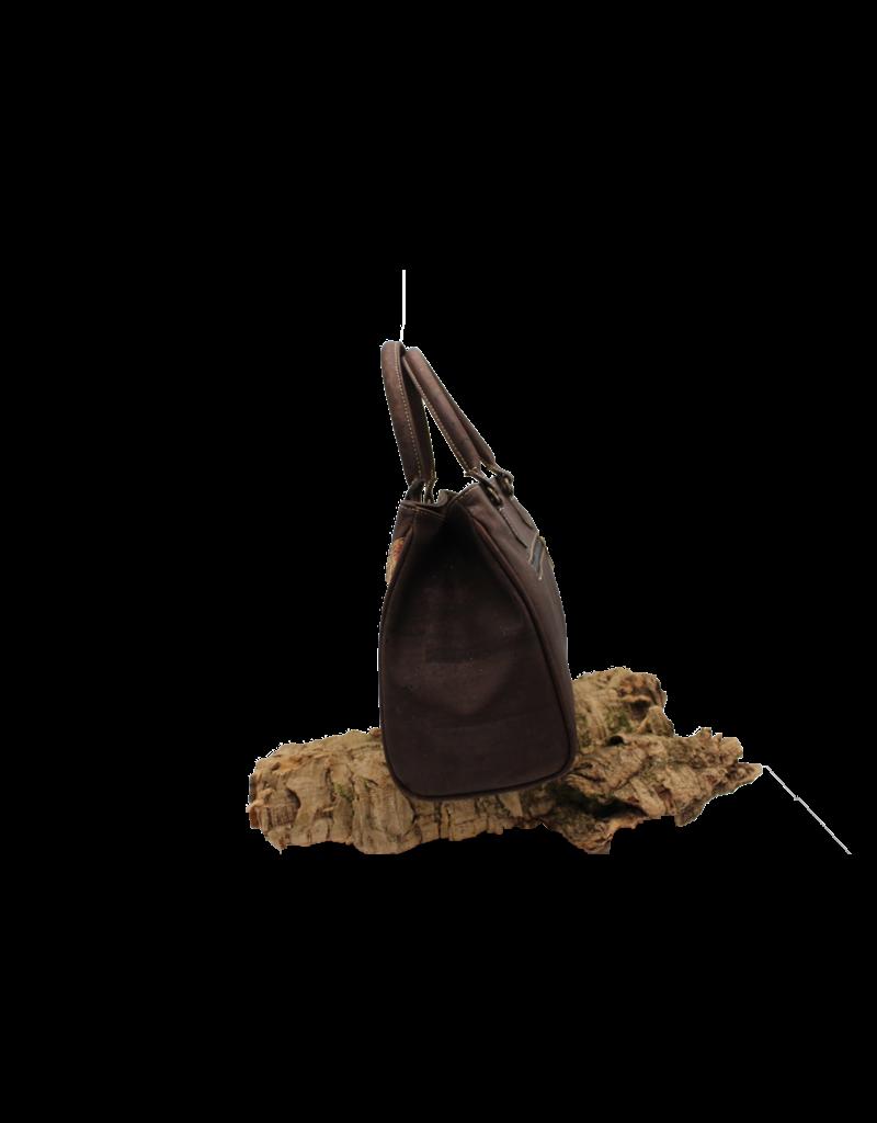 Captain Cork VERA - kurken Handtas in donkerbruin en natuurlijke afwerking met schouderriem