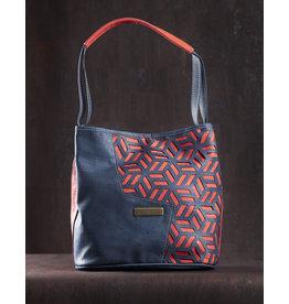 Captain Cork ELIANE - Elegant and timeless shoulder bag red/blue / Captain cork label