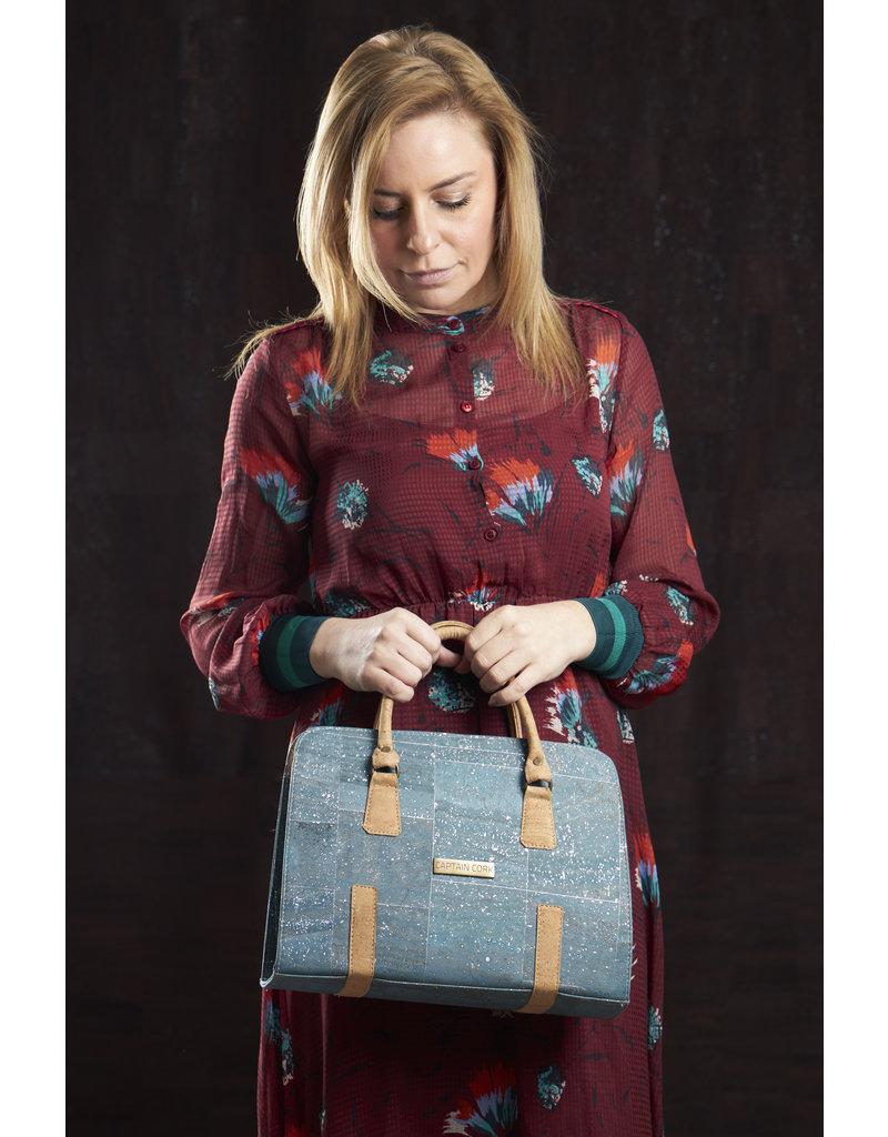 Captain Cork MARIJKE -  Beautiful cork hand bag in turquoise with shoulder strap