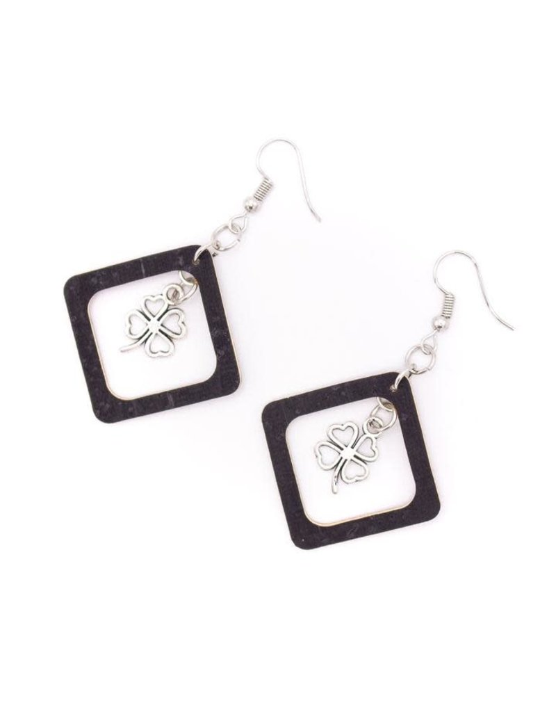 Captain Cork SQUARE CLOVER - earrings out of cork