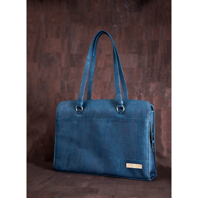 Captain Cork DOMINIQUE_NAVY BLUE_CORK laptop bag with 5 compartments and detachable and adjustable cork shoulder strap