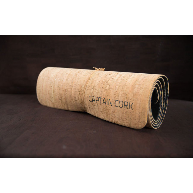 Captain Cork YOGA PILATES MAT_NATURAL_ CORK YOGA MAT EVA FOAM: cork leather yoga PILATES mat with an eva foam surface, a yoga pilates mat made of vegan leather