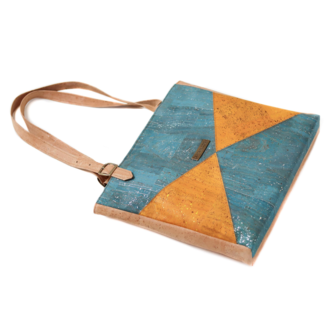Captain Cork LUCINDA - CORKS Lux Tote Bag SILVER Turquoise