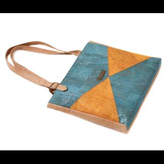 Captain Cork LUCINDA - KURKEN Lux Tote Bag SILVER Turquoise