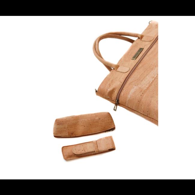 Captain Cork GIA_NATURAL _ CORK shoulder bag with cork leather detachable shoulder loop and a vegan leather side pocket for phone
