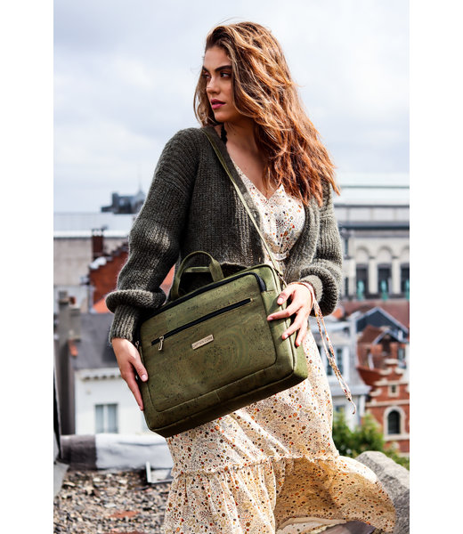 LEWIE - Stylish Laptop bag with shoulder strap ARMY GREEN