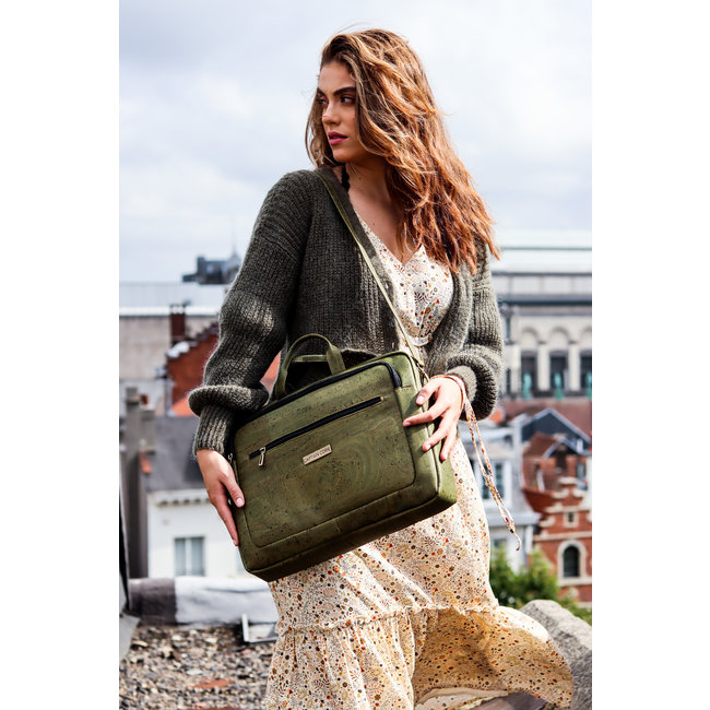 Captain Cork LEWIE - CORK laptop bag ARMY GREEN  (IN PRODUCTION - expected end november)
