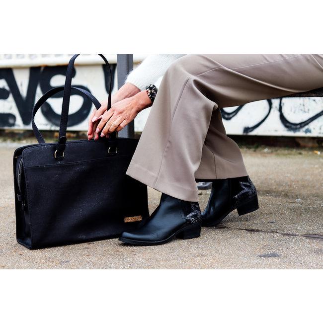 Captain Cork DOMINIQUE_BLACK_CORK laptop bag with 5 compartments and detachable and adjustable cork shoulder strap